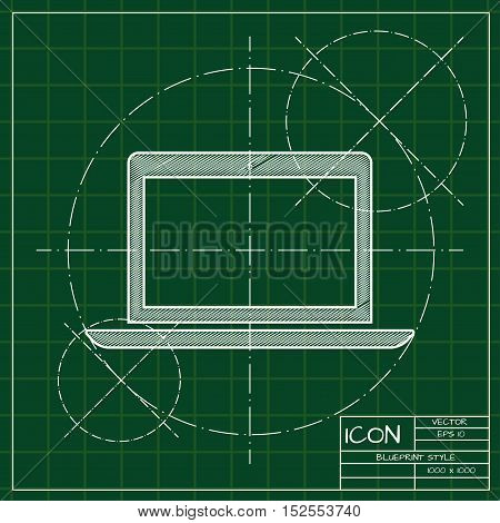 Vector blueprint laptop icon . Engineer and architect background.