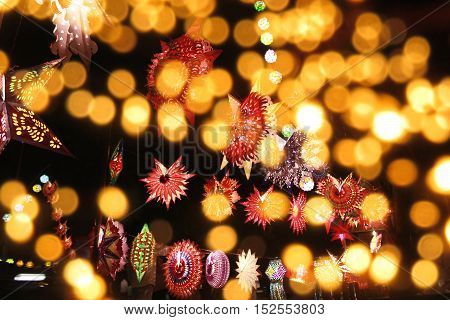 A view of traditional lights to a line of blur lights lit on the occassion of Diwali festival in India