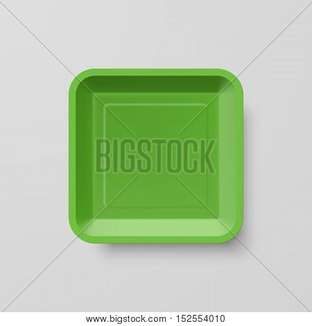 Empty Green Plastic Food Square Container on Gray Background