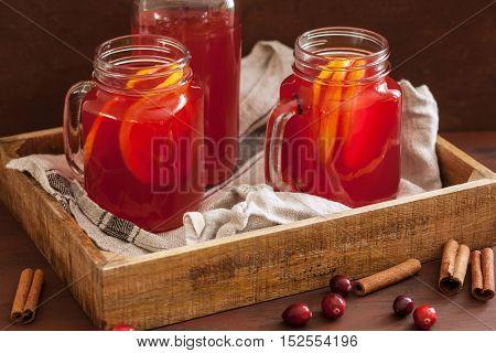 hot cranberry tea with orange cinnamon warming drink