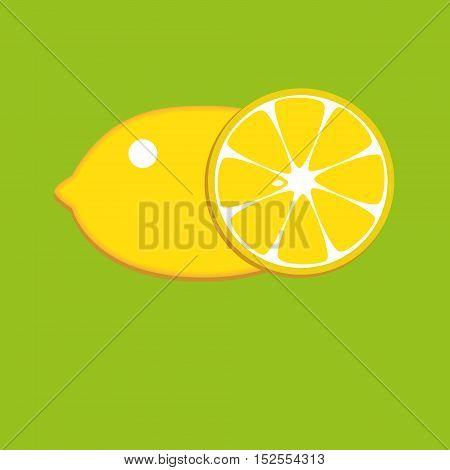 nice juicy fresh Lemon yellow on a green background