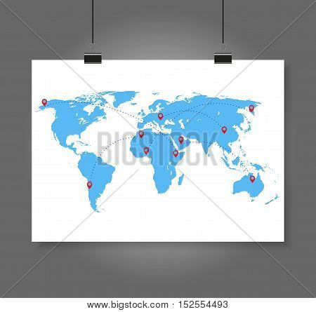 Vector illustration world map with infographic elements