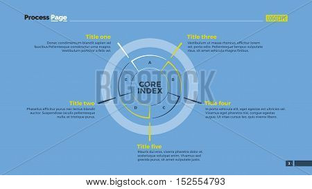 Circle diagram with five options. Element of presentation, diagram, layout. Concept for infographics, business templates, reports. Can be used for topics like analysis, business strategy, planning