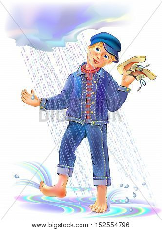 Illustration of funny boy playing under the rain.