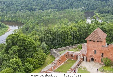 background landscape red stone castle old castle in Turaida, in the vicinity of Riga, Latvia