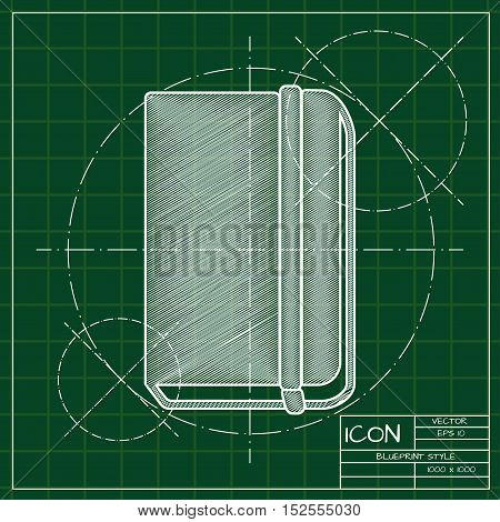 Vector blueprint book icon . Engineer and architect background.