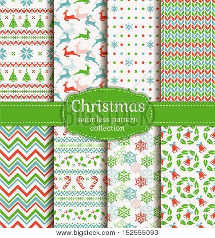 Merry Christmas and Happy New Year! Set of cute seamless backgrounds with winter holiday symbols: bell christmas tree reindeer holly snowflake candy cane and knitted patterns. Vector collection.