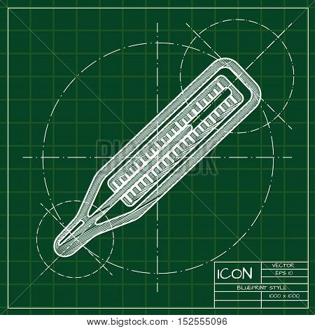 Vector blueprint thermometer icon . Engineer and architect background.