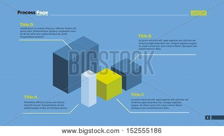 Infographic chart with four options, geometric figures. Presentation element, diagram, chart. Concept for templates, infographics, reports. Can be used for topics like strategy, planning, mathematics