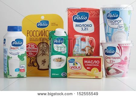 ST. PETERSBURG, RUSSIA - APRIL 26, 2016: Dairy products of Russian branch of Finnish Valio company. Valio is Finland's biggest milk processor, producing 85% of Finland's milk