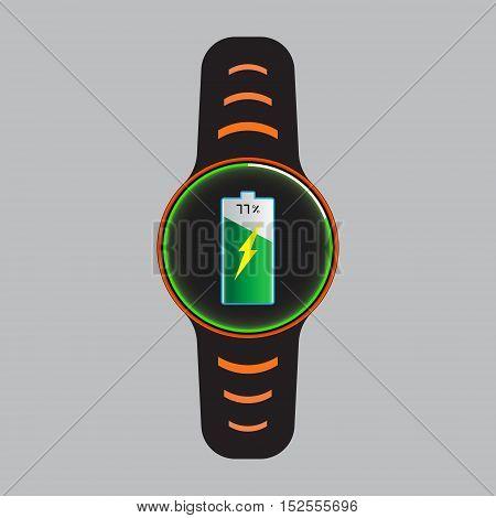Recharging smart watch vector icon. Smart watch isolated logo.