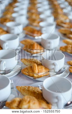 many croissant waiting for business conference's coffee break
