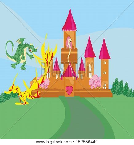 princess in the burning tower , vector illustration