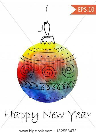 Watercolor christmas bauble with hand-drawn elements Colorful on white background in vector New Year ball round