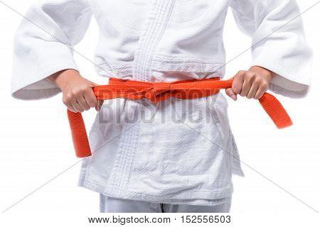Athlete's hands, Judo, tie a belt around the body.