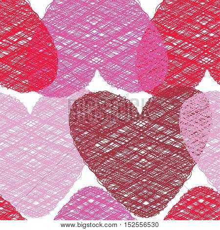Romantic seamless vector pattern illustration. St. Valentine`s day decoration symbol concept. Many repeating bright colored tangled hearts on the white (transparent) background. Vector eps illustration