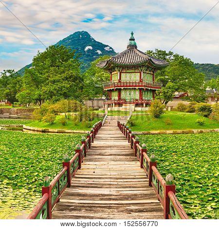 Hyangwonjeong Pavilion. Gyeongbokgung Palace. Seoul. South Korea.