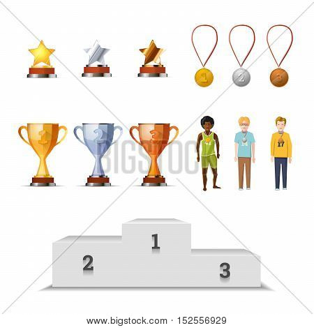 Big set of winners awards with medals, cups and stars. Gold, silver and bronze prizes for sportsman isolated on white.