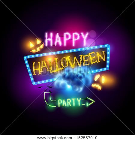 Happy halloween sign with jack O Lanterns and neon letters. Vector illustration.