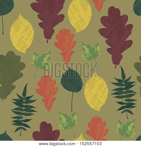 Floral seamless pattern with autumn grunge yellow, red, orange, green tree leaves on khaki background. Maple, Elm, Oak, Aspen textured leaves. Vector illustration.