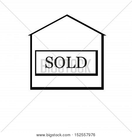 Black sold house. Flat design. Vector Illustration