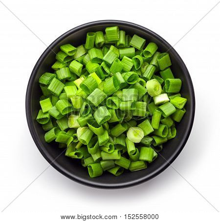 Bowl Of Spring Onions From Above