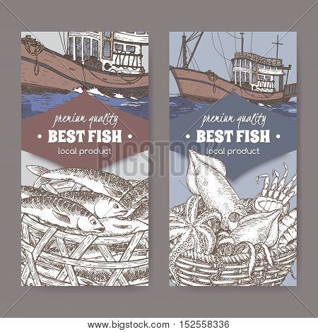 Set of two labels with color modern fishing boat, fish and seafood basket. Great for markets, fishing, fish processing, canned fish, seafood product label design.