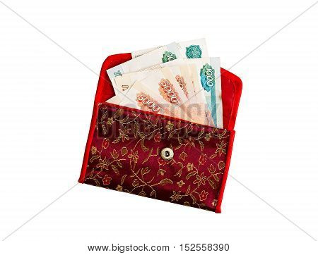 Wallet with ruble bills. Wallet with ruble banknotes on a white background.