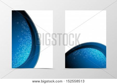 Front and back digital flyer template design. Abstract template in blue color with square technologic surface. Vector illustration