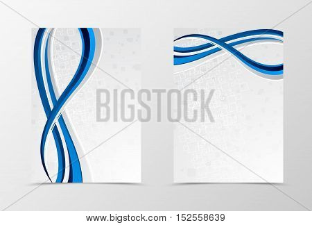 Front and back dynamic wave flyer template design. Abstract template with blue and gray lines and digital futuristic geometric square background. Vector illustration