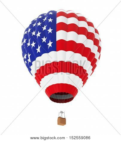 Hot Air Balloon with Flag of United States isolated on white background. 3D render