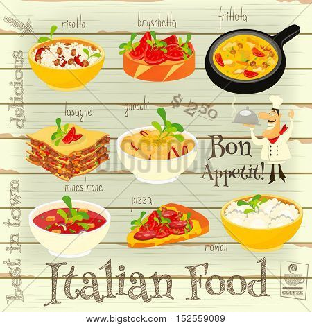 Italian Food Menu Card with Traditional Meal on White Wooden Background. Italian Cuisine. Food Collection. Vector Illustration.