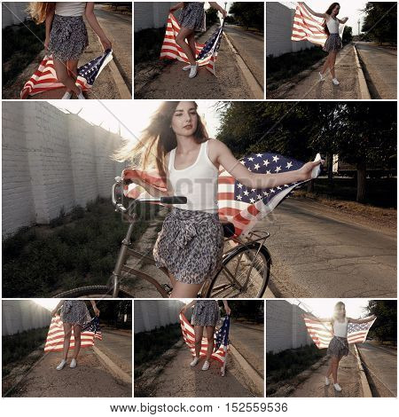 Young girl holding americam stars and stripes flag in her hands outdoor collage retro color toned. Young woman posing with US-flag and bicycke outdoors in the street backlit