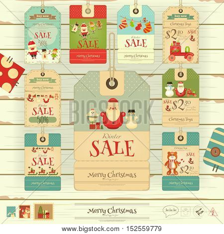 Christmas Sale Tags in Vintage Style on White Wooden Background. Winter Sell-out Labels Collection. Vector Illustration.