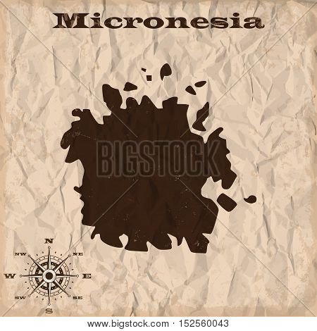 Micronesia old map with grunge and crumpled paper. Vector illustration