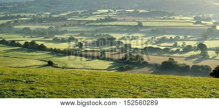 Misty morning over Axe Valley in East Devon