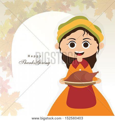 Happy pilgrim girl holding roasted chicken for Thanksgiving Day celebration concept.