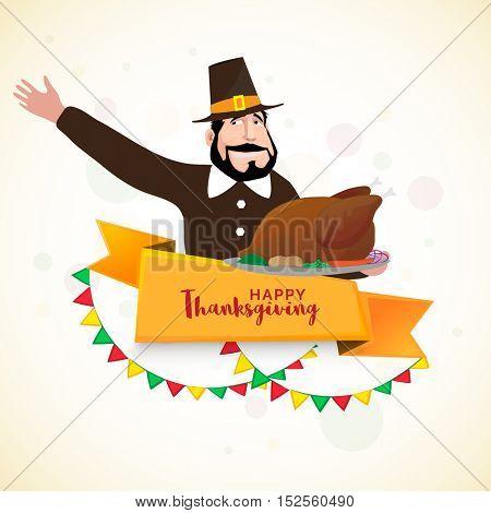 Pilgrim man holding roasted chicken for Happy Thanksgiving Day celebration.