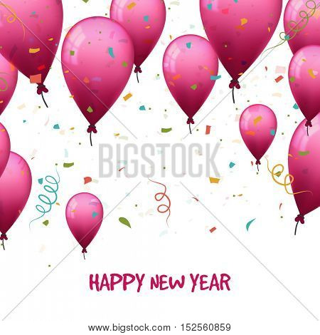Festive background with glossy flying balloons. Creative illustration for Happy New Year celebration.