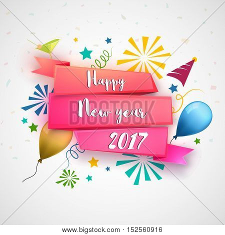 White text Happy New Year 2017 on glossy ribbon. Elegant festive background. Creative vector illustration.