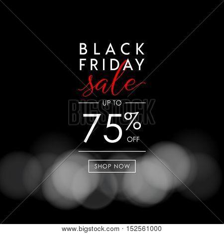 Black Friday Sale illustration for social media banner, ad, newsletter, poster, flyer, website. Typographic vector design.