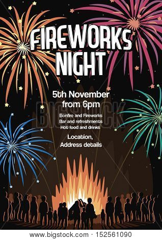 Fireworks Night Flyer Invitation Vector Illustration Poster