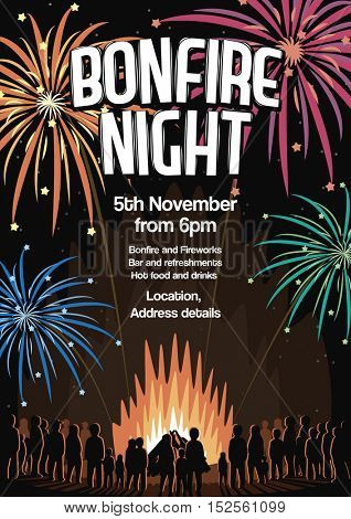 Bonfire Night Invitation Flyer Vector Illustration Poster