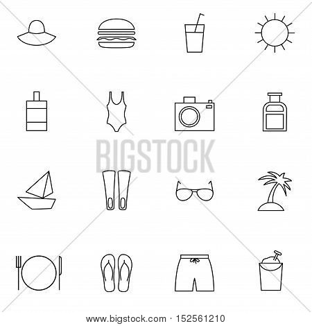 travelling thin line icons set minimalistic flat design contains swimwear food luggage photography camera sun island yacht icons good for web and mobile