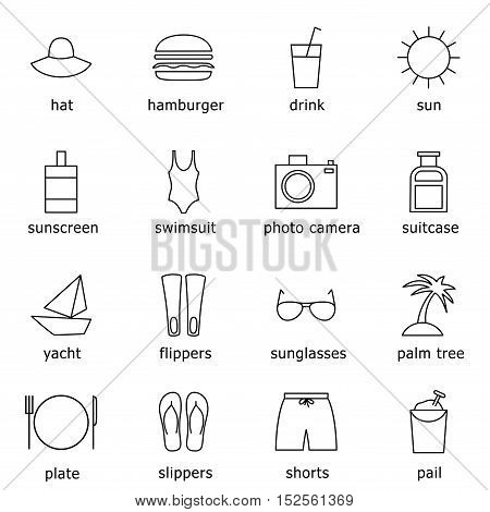 Travelling thin line icons set beach and sea recreation outline icons. Minimalistic flat design contains swimwear food luggage photography camera sun island yacht icons good for web and mobile.