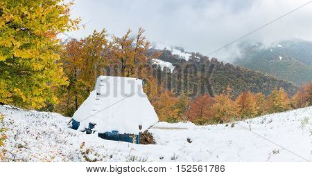 Temporary home in the mountains, for tool storage. Autumn trees with colorful leaves. The slope covered with snow.