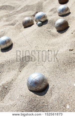 Balls for playing bocce on the sand