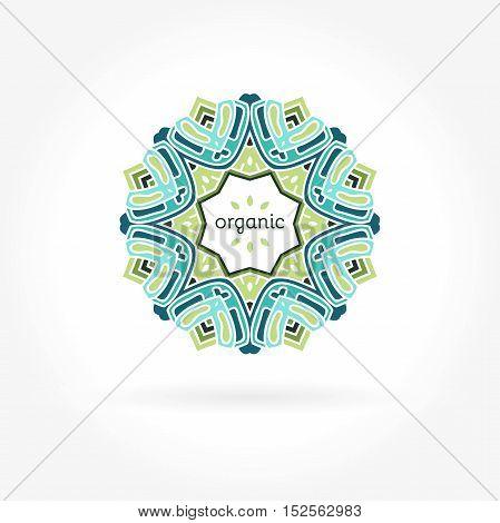 Beautiful circular logos. Logo for organic products, organic cosmetics. Organic Products. Company logo, mark, emblem, element. Simple geometric logo. Mandala logo. Icons, business, invitations.