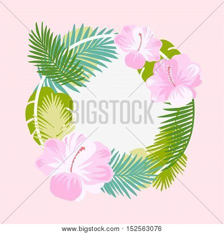 Tropical floral vector background. Summer design. Exotic tropical flowers. Exotic wreath design.