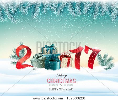 Happy new year 2017! New year design template Vector illustration